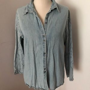 Embroidered Sleeve Denim Button Down Shirt Large